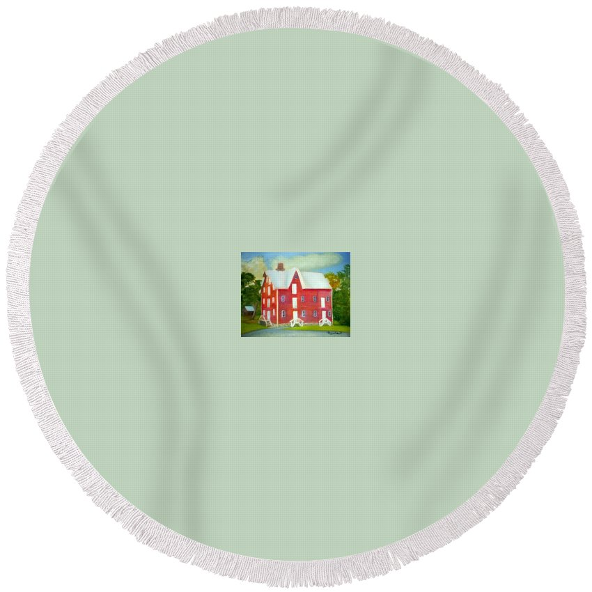 Kirby Mill Round Beach Towel featuring the painting Kirby's Mil by Sheila Mashaw