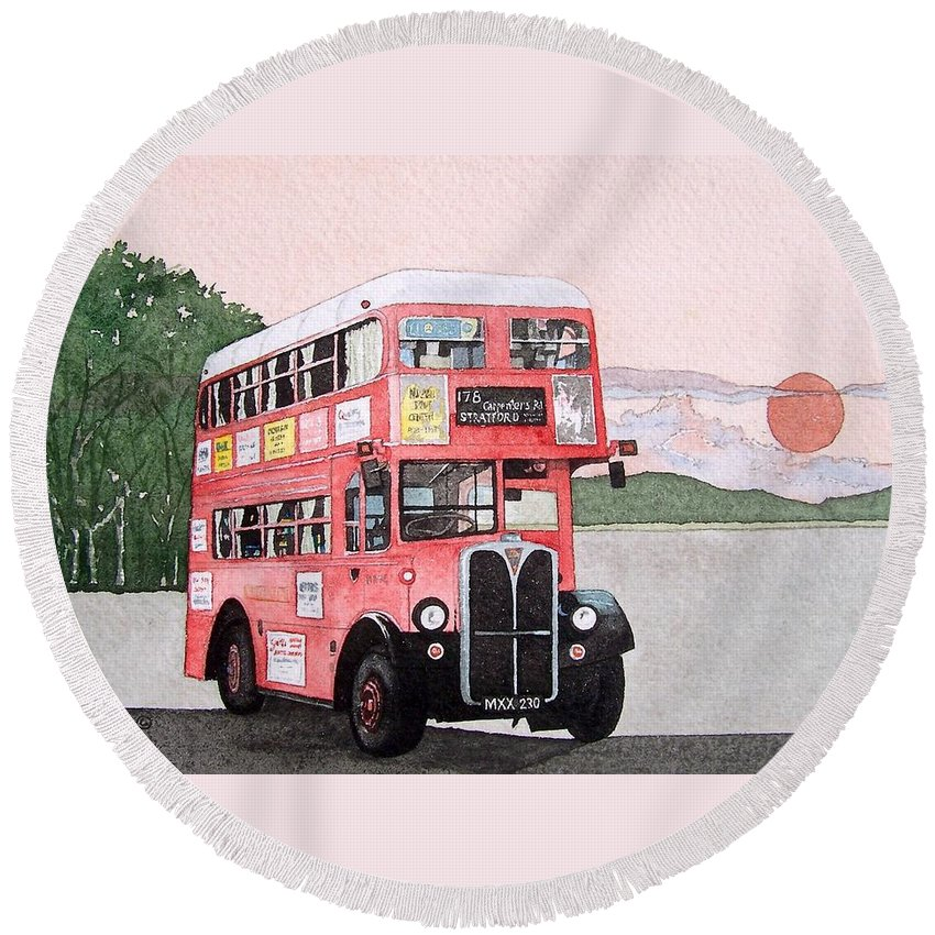 Bus Round Beach Towel featuring the painting Kirkland Bus by Gale Cochran-Smith