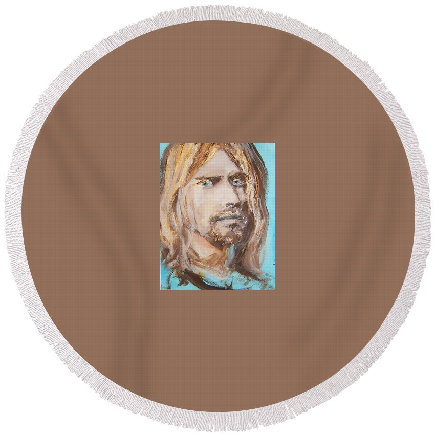 Kirt Co Round Beach Towel featuring the painting Kirt Cobane by Todd Artist
