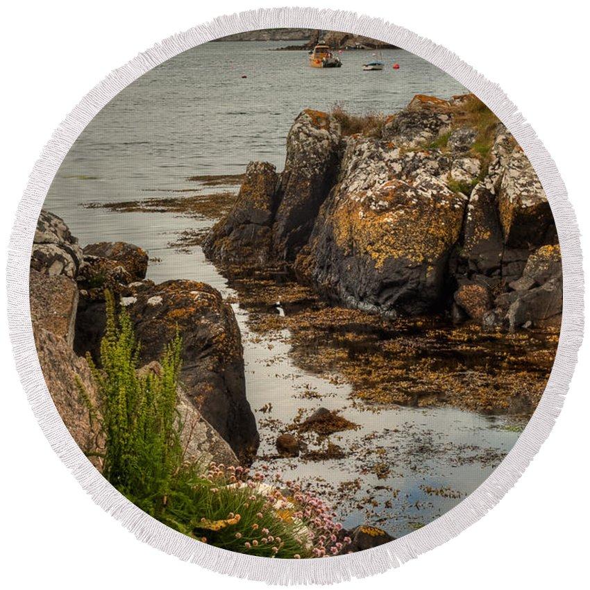 Scotland Round Beach Towel featuring the photograph Kisimul Castle by Colette Panaioti