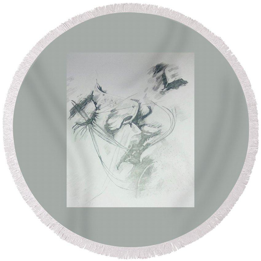 Pencil Art Round Beach Towel featuring the ceramic art Kiss Of Love by Art Tamizha