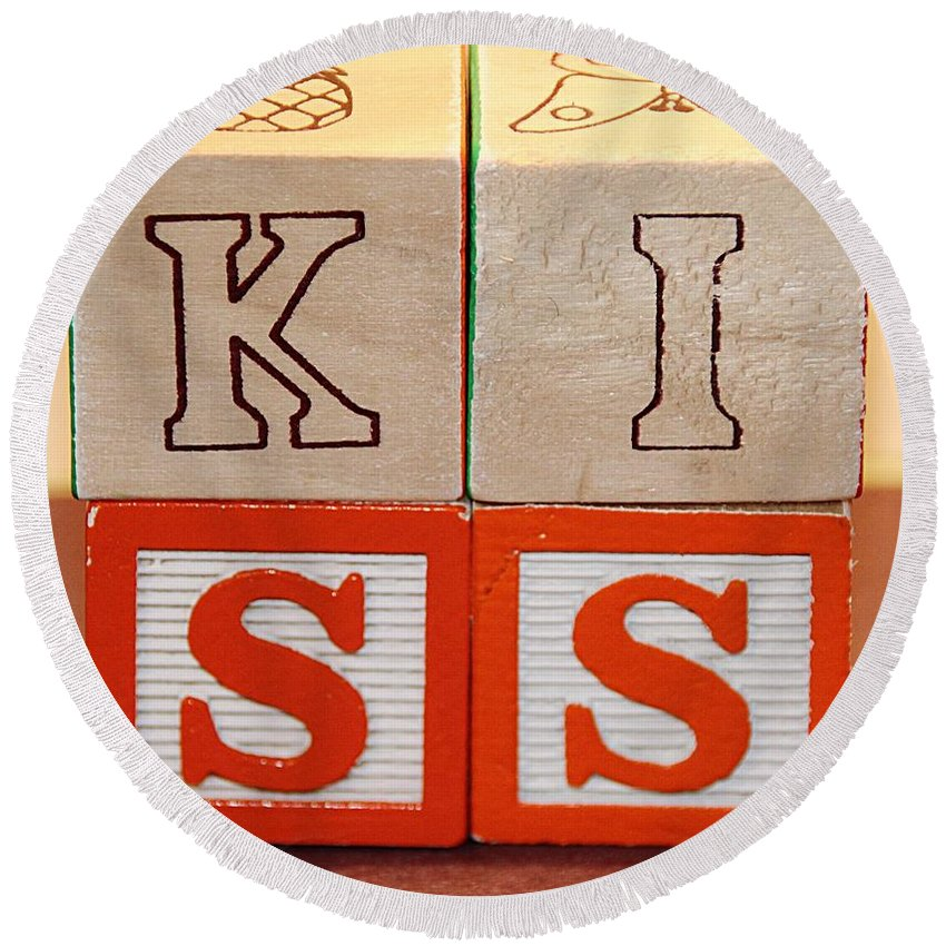 K I S S Letters Wooden Blocks Toy Multicolored Playtime Round Beach Towel featuring the photograph Kiss by Scott Burd