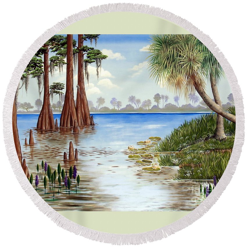 Nature Round Beach Towel featuring the painting Kissimee River Shore by Monica Turner