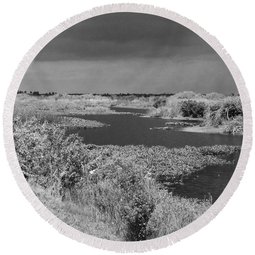 Kissimmee Round Beach Towel featuring the photograph Kissimmee Storm by Keri West