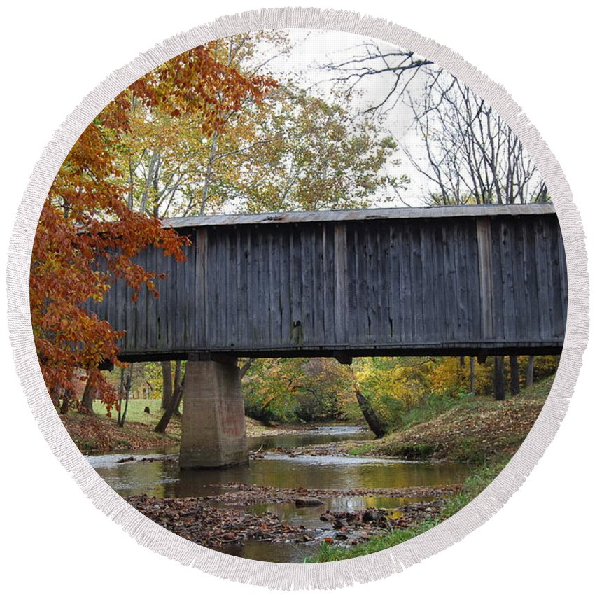 Landscape Round Beach Towel featuring the photograph Kissing Bridge at fall by Eric Liller