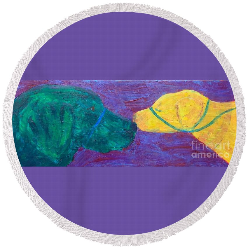 Service Dogs Round Beach Towel featuring the painting Kissing Dog by Donald J Ryker III