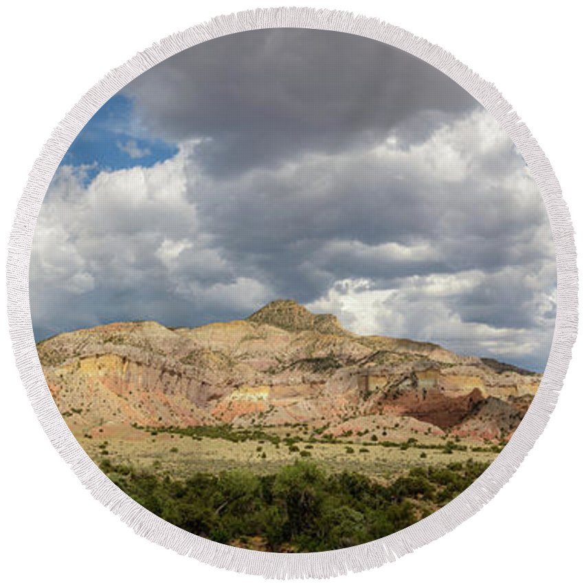 Mesa Round Beach Towel featuring the photograph Kitchen Mesa Panorama by Dusty Demerson