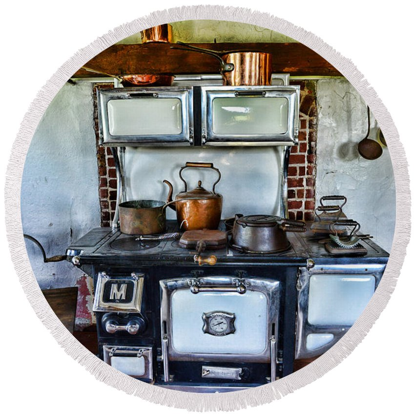 Paul Ward Round Beach Towel featuring the photograph Kitchen - The Vintage Stove by Paul Ward