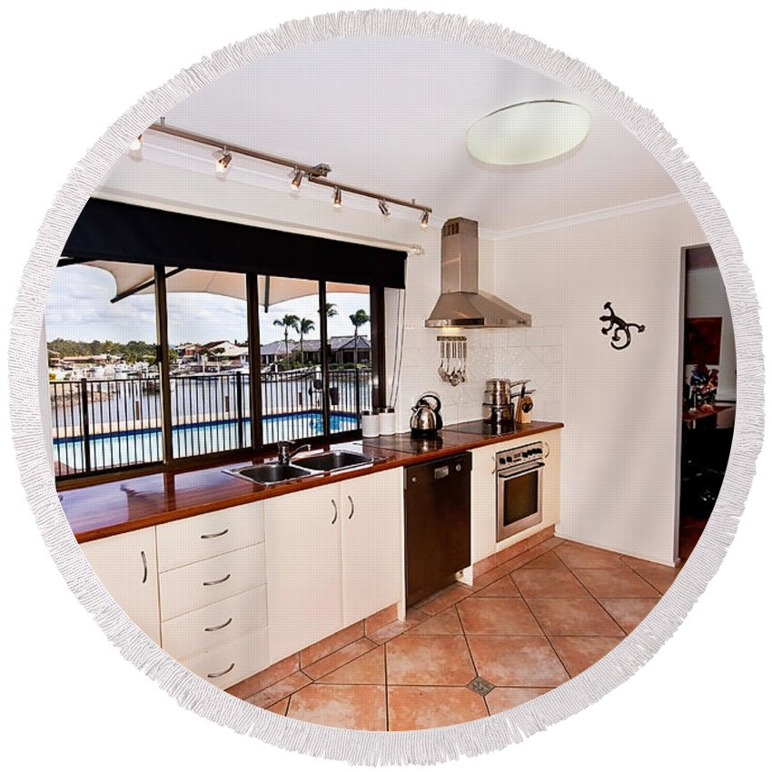Kitchen Round Beach Towel featuring the photograph Kitchen With A River View by Darren Burton