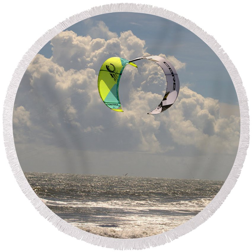 Kite Boarding Obx Outer Banks North Carolina Round Beach Towel featuring the photograph Kite Boarding Buxton Obx by Mark Holden