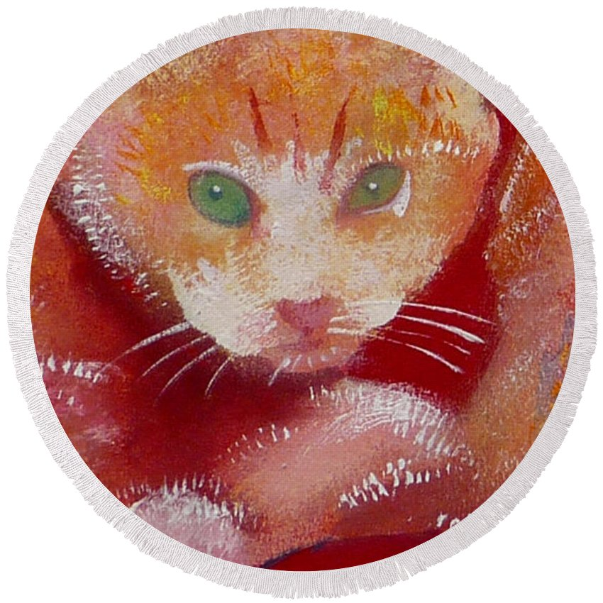 Kittens Round Beach Towel featuring the painting Kitten by Charles Stuart