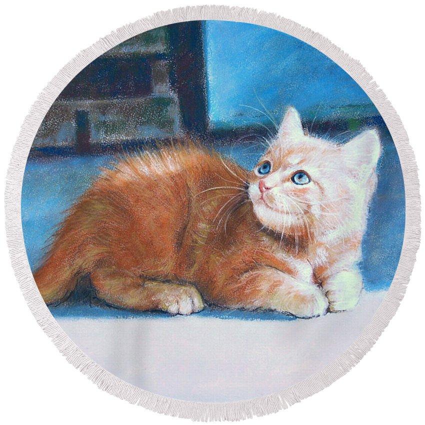 Cats Round Beach Towel featuring the pastel Kitten by Iliyan Bozhanov