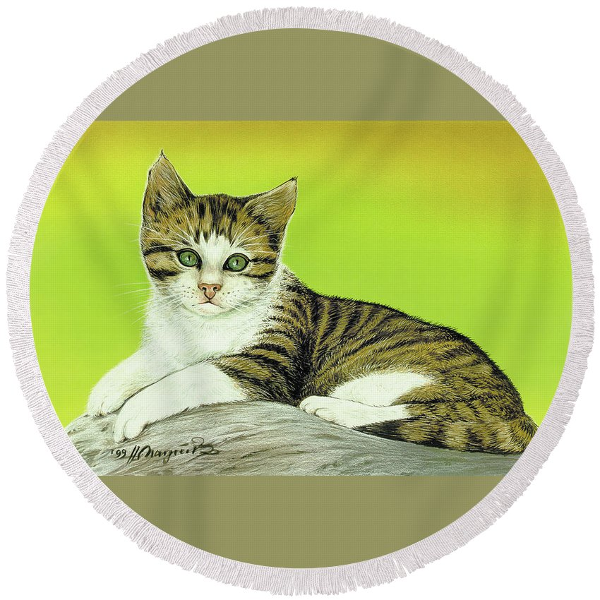 Cat Round Beach Towel featuring the painting Kitten On Rock by Johannes Margreiter