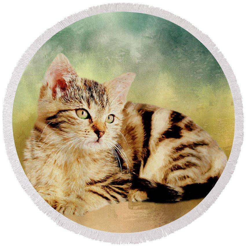 Kitten Round Beach Towel featuring the painting Kitten - Painting by Ericamaxine Price