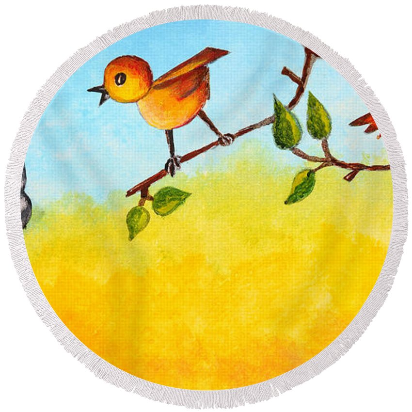 Painting Round Beach Towel featuring the painting Kitten Scaring The Birds by Nirdesha Munasinghe