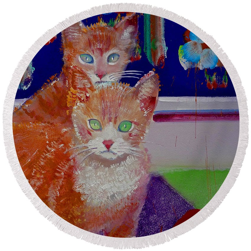 Kittens Round Beach Towel featuring the painting Kittens With Wild Wallpaper by Charles Stuart