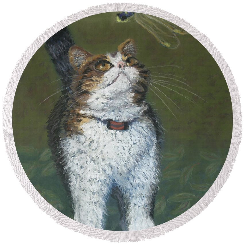 Cat Round Beach Towel featuring the painting Kitty And Her Dragonfly by Minaz Jantz