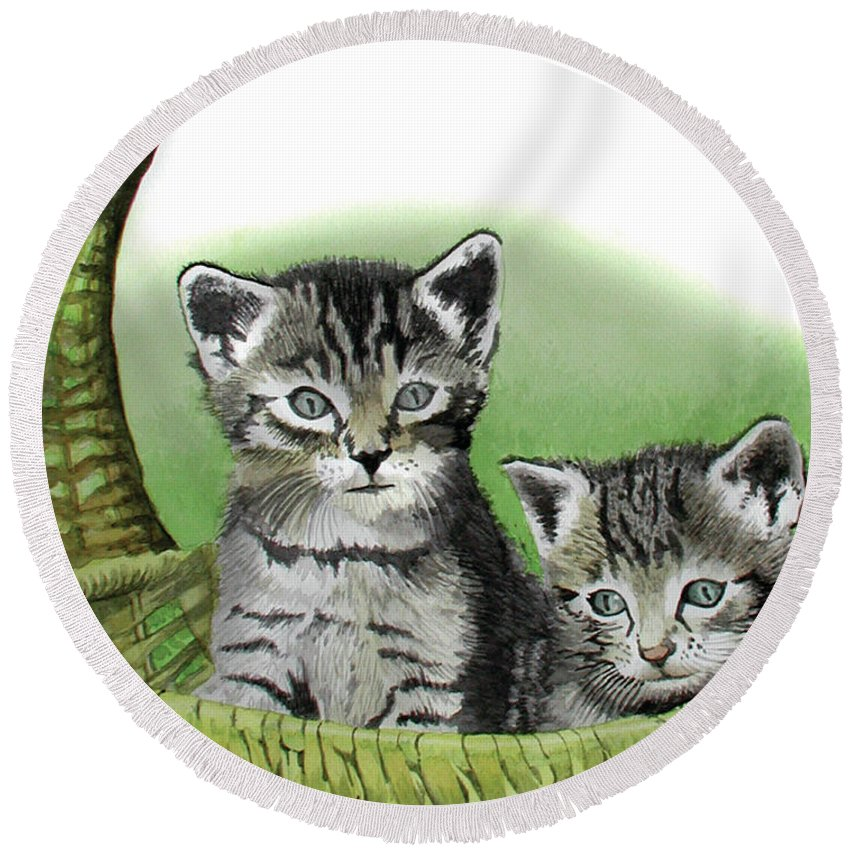 Cat Round Beach Towel featuring the painting Kitty Caddy by Ferrel Cordle