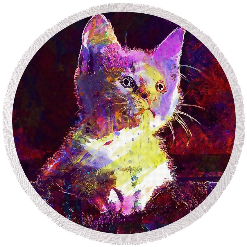 Kitty Round Beach Towel featuring the digital art Kitty Cat Kitten Pet Animal Cute by PixBreak Art