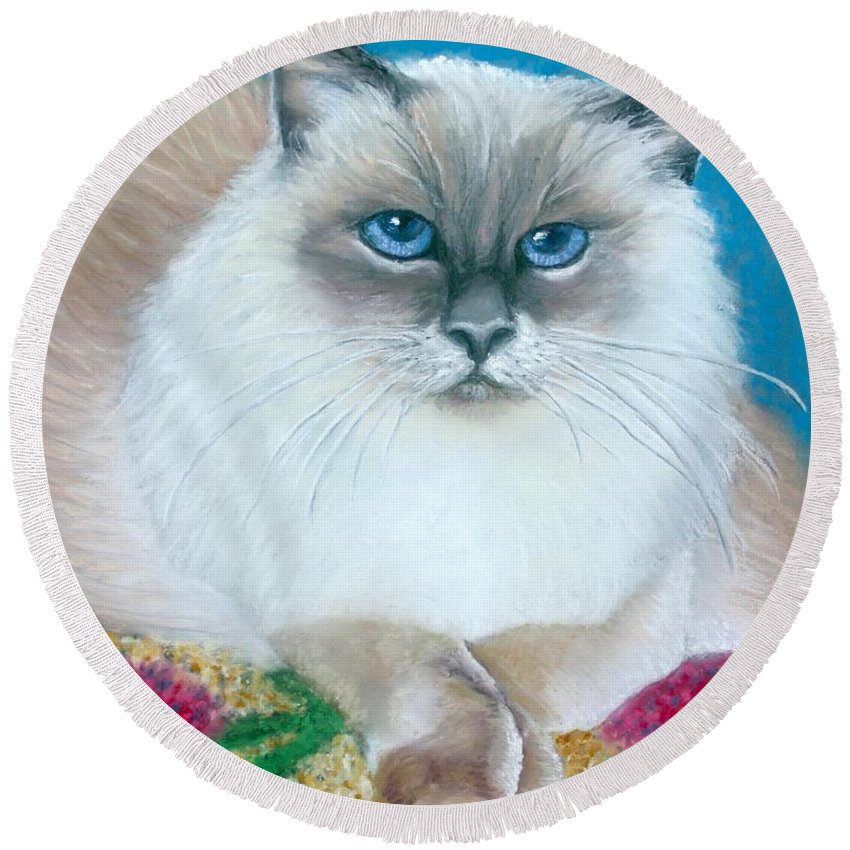 Cat Round Beach Towel featuring the painting Kitty Coiffure by Minaz Jantz