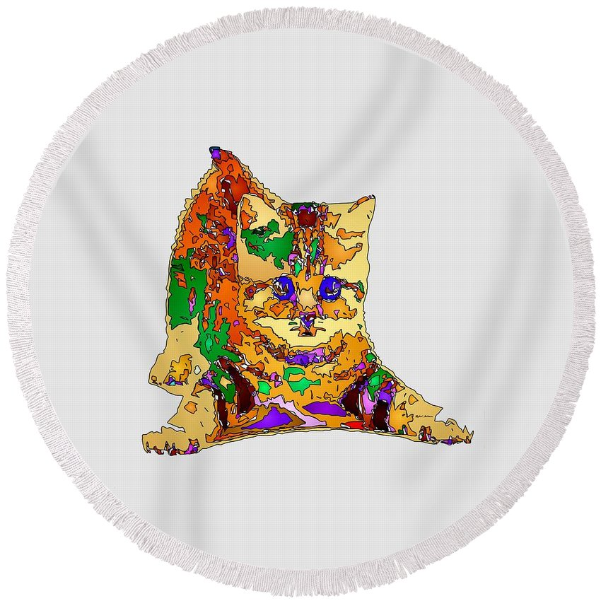 Cat Round Beach Towel featuring the digital art Kitty Love. Pet Series by Rafael Salazar