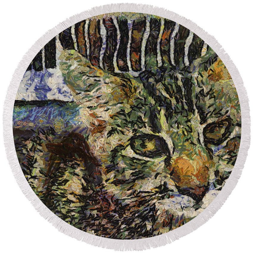 Alicegipsonphotographs Round Beach Towel featuring the photograph Kitty Vangoghed by Alice Gipson