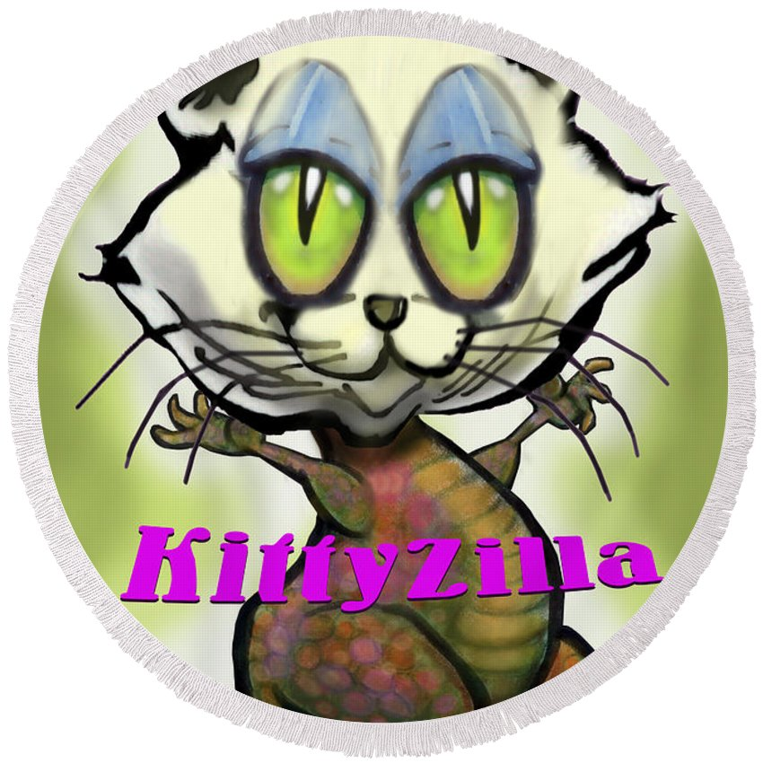Kittyzilla Round Beach Towel featuring the greeting card Kittyzilla by Kevin Middleton