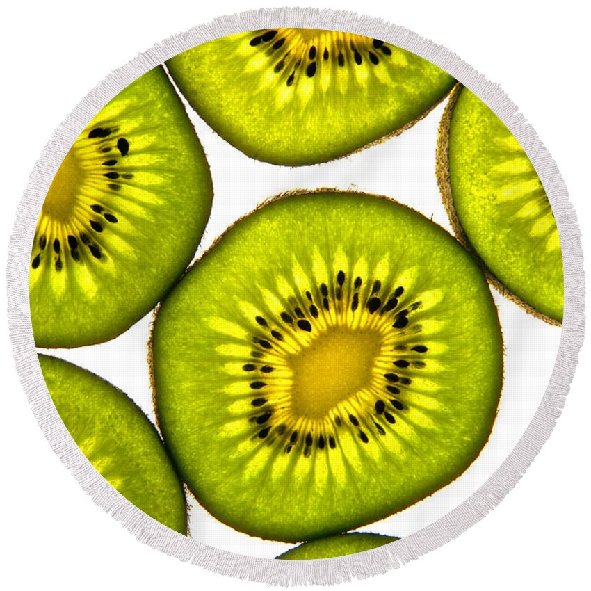 Kiwi Fruit Round Beach Towel featuring the photograph Kiwi Fruit by Bruce Stanfield