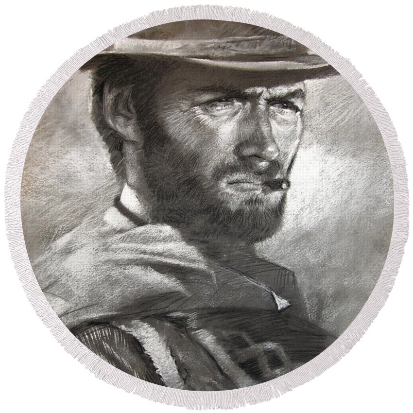Portrait Round Beach Towel featuring the drawing Klint Eastwood by Ylli Haruni