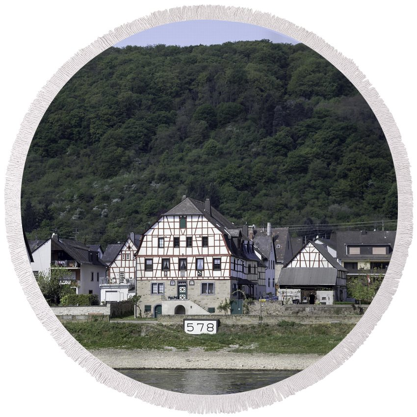 Teresa A Mucha Round Beach Towel featuring the photograph Km 578 Spay Germany by Teresa Mucha