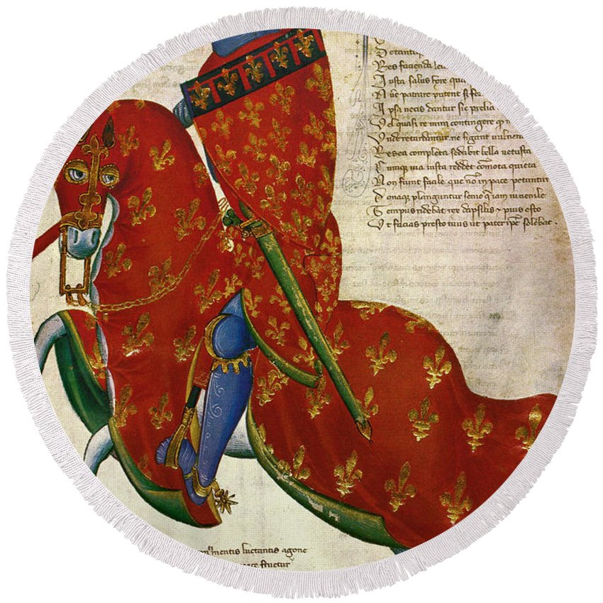 14th Century Round Beach Towel featuring the photograph Knight, 14th Century by Granger
