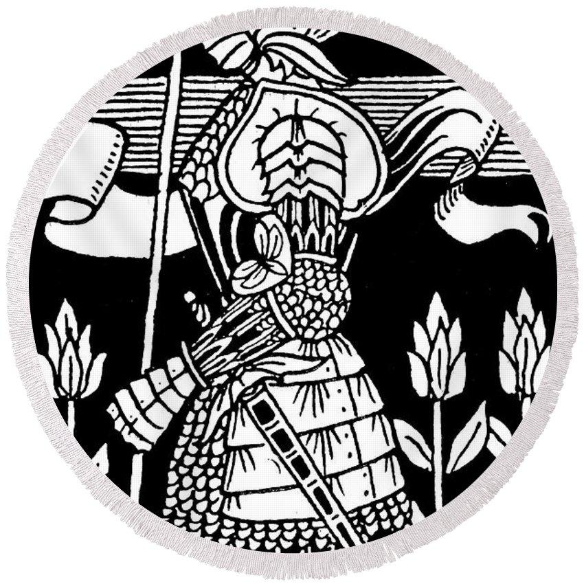 Aubrey Beardsley Round Beach Towel featuring the drawing Knight Of Arthur, Preparing To Go Into Battle by Aubrey Beardsley