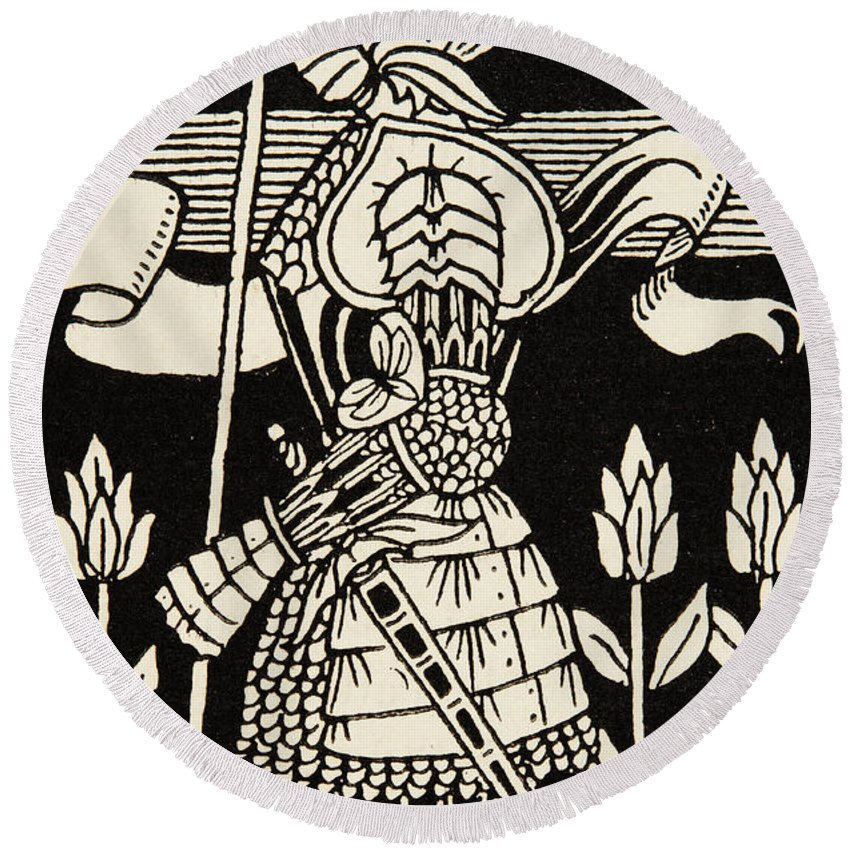 Aubrey Beardsley Round Beach Towel featuring the drawing Knight Of Arthur, Preparing To Go Into Battle, Illustration From Le Morte D'arthur By Thomas Malory by Aubrey Beardsley