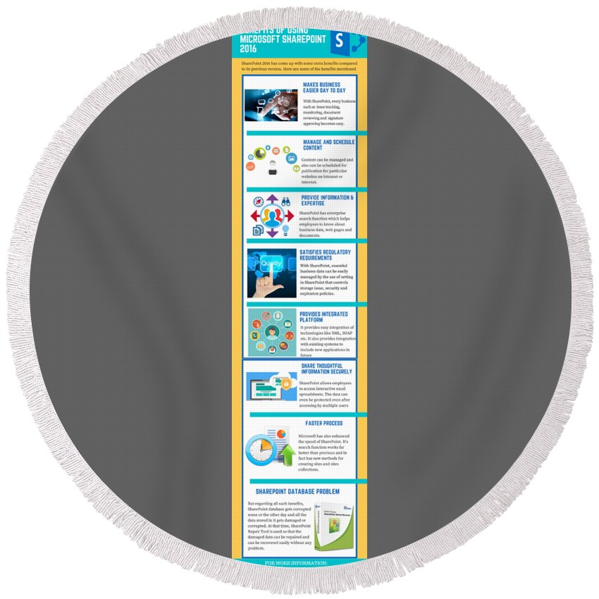 Sharepoint 2016 Round Beach Towel featuring the digital art Know About The Benefits Of Using Microsoft Sharepoint 201 by Edwards Paul