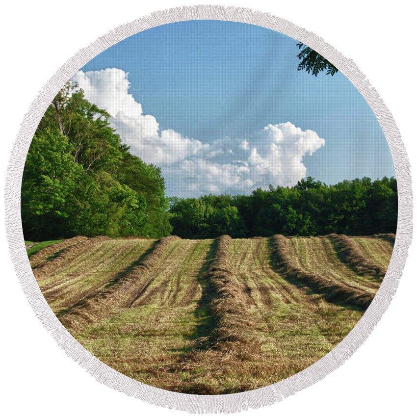 Farm Round Beach Towel featuring the photograph Knox Farm 11625 by Guy Whiteley