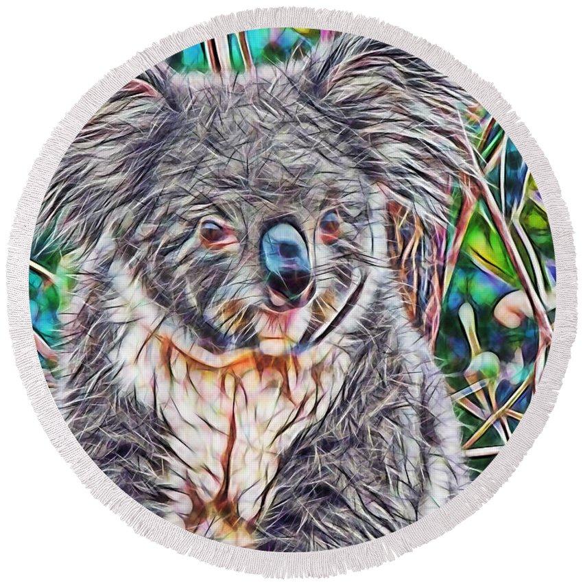 Koala Round Beach Towel featuring the mixed media Koala by Marvin Blaine