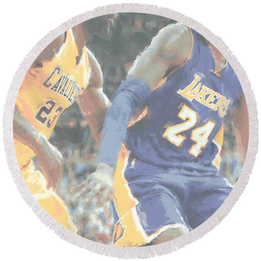 Kobe Bryant Round Beach Towel featuring the photograph Kobe Bryant Lebron James 2 by Joe Hamilton