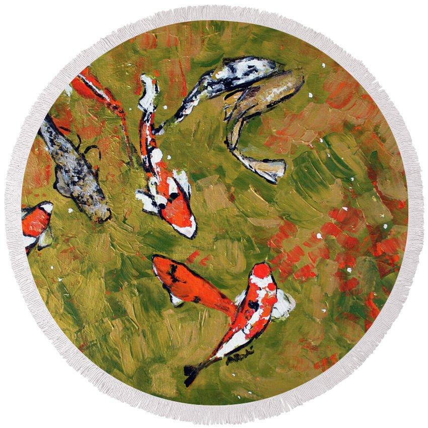 Fish Round Beach Towel featuring the painting Koi 201746 by Alyse Radenovic