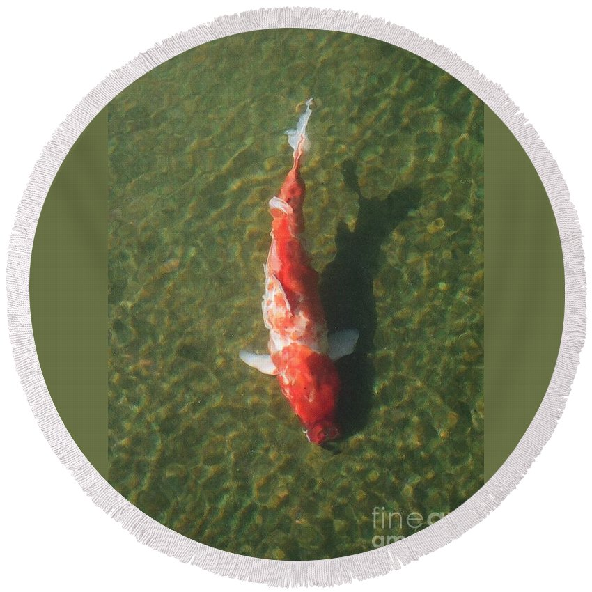 Koi Round Beach Towel featuring the photograph Koi by Dean Triolo