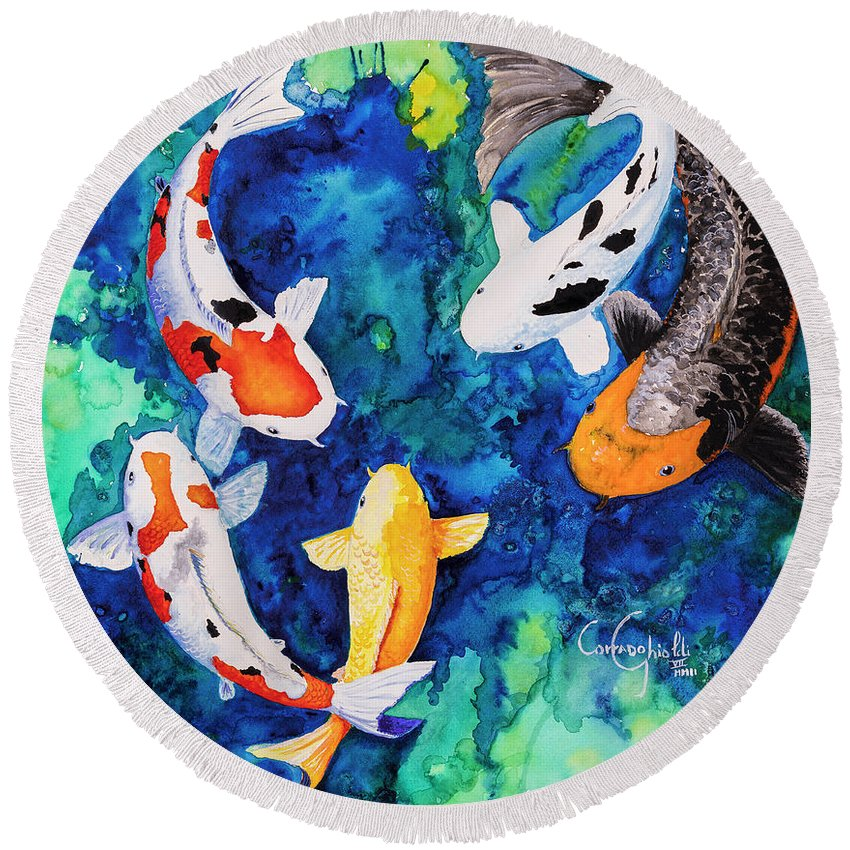 Koi Round Beach Towel featuring the painting Koi Family by Corrado Ghioldi