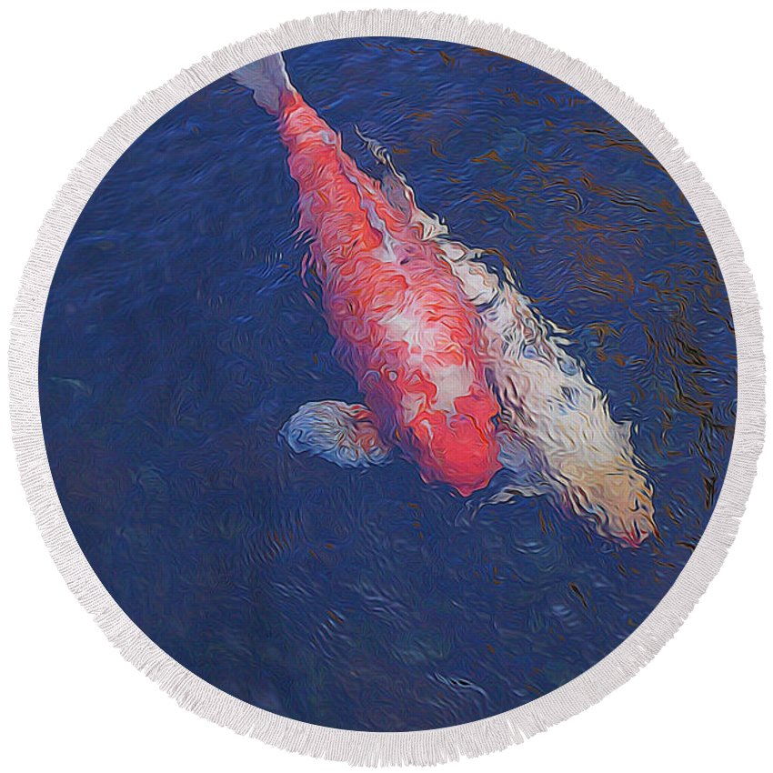 Koi Round Beach Towel featuring the photograph Koi Fish Partners by Pamela Walton