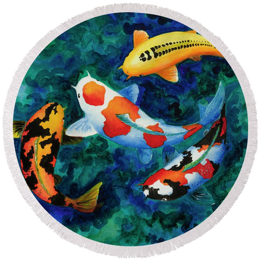Koi Round Beach Towel featuring the painting Koi Group by Corrado Ghioldi