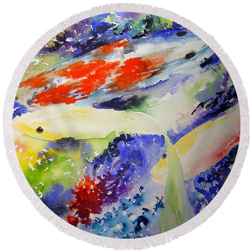 Koi Round Beach Towel featuring the painting Koi by Joanne Smoley