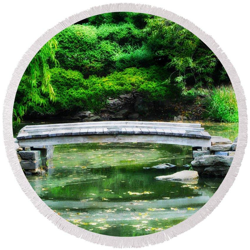Koi Pond Round Beach Towel featuring the photograph Koi Pond Bridge - Japanese Garden by Bill Cannon