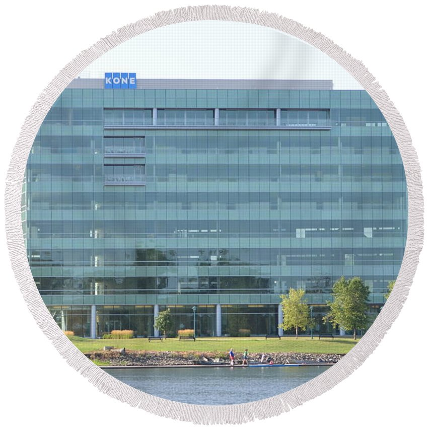 Moline Round Beach Towel featuring the photograph Kone Building by Tammy Mutka