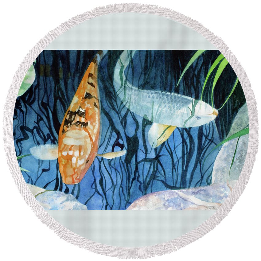 Tropical Round Beach Towel featuring the painting Kooky Koi by Marie Garafano