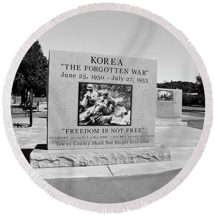 120 Film Round Beach Towel featuring the photograph Korea The Forgotten War by Timothy Wildey