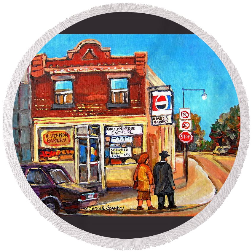 Kosher Bakery On Hutchison Round Beach Towel featuring the painting Kosher Bakery On Hutchison by Carole Spandau