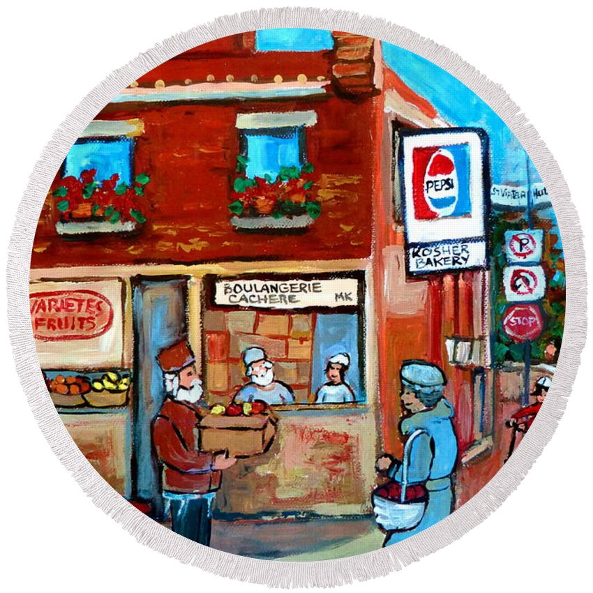 Kosher Bakery Round Beach Towel featuring the painting Kosher Bakery On Hutchison Street by Carole Spandau