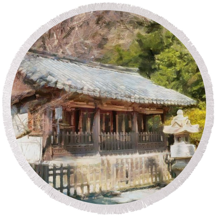 Kotoku-in Temple Round Beach Towel featuring the digital art Kotoku-in Temple by Eva Lechner